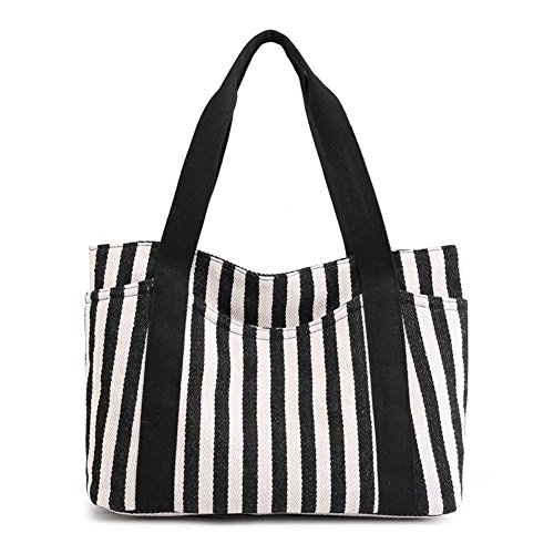 Defeng Canvas Shoulder Bag Totes Hobos Handbag Top-Handle Bags Beach Bag Pouch Black-b045