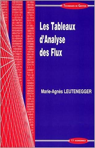 Livre Les tableaux d'analyse des flux pdf, epub ebook