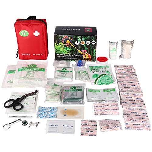 First Aid Kit with 139 Pieces Emergency Supplies,HealthLife Portable Medical Bag - Includes Splints, Bandages, Gauzes & Instant Cold Compress - for Travel, Car, Home, Office, Camping, Hiking, Hunting