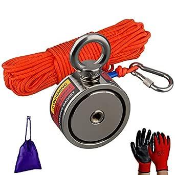 MUTUACTOR Starka fiskemagneter kombinerade 240kg, dubbelsidig hämtningsmagnet N52 neodymmagneter med 20 m (66 fot) hållbart rep, kraftfulla magneter för fiske och magnetisk återhämtning räddning