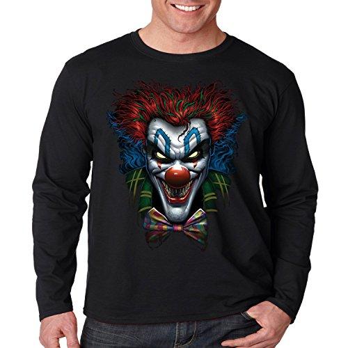 Evil Clown Long Sleeve Shirt Psycho Clown Liquid Blue Mens S-3XL (Black, XL) ()