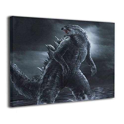 Little Monster Godzilla Night Sea Framed and Stretched