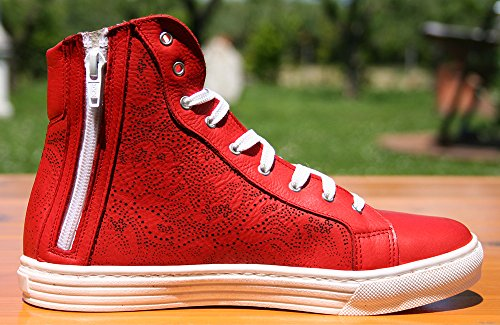 fantasievoller Sneakers Damenschuhe hergestellt komplett in hohe Lasergravur in Rot Italien mit Echtleder R5w45zqxf