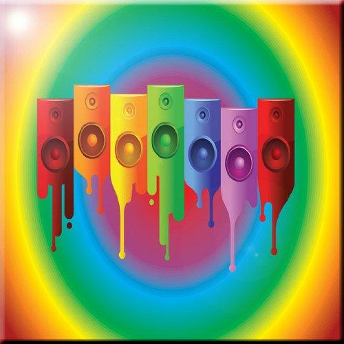 Rikki Knight Colored Speakers on Radial Rainbow Design Ceramic Art Tile, 8