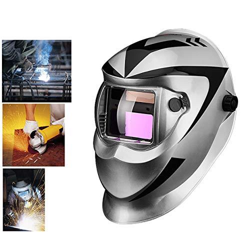(APENCHREN Solar Powered Auto Darkening Welding Helmet Mask, Face Protection for Arc Tig Mig Grinding Plasma Cutting, DIN4/9-13,Silver )