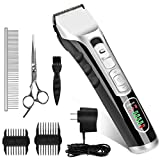 Dog Grooming Clippers Scissors, Professional Pet Cordless Low Noise Clippers Hair Trimmer with Sharp Blades, Rechargeable Quiet Hair Clipper with Comb Guides Scissors for Dogs Cats and Animals