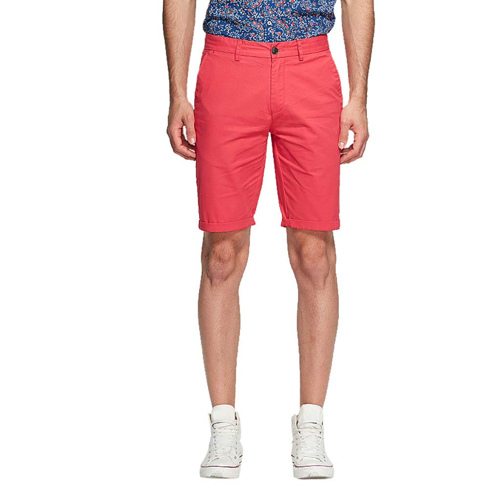 Men's Cargo Short Pants,Clearance -Fashion Casual Solid Cotton Button Sweatpants Trousers Shorts with Pocket