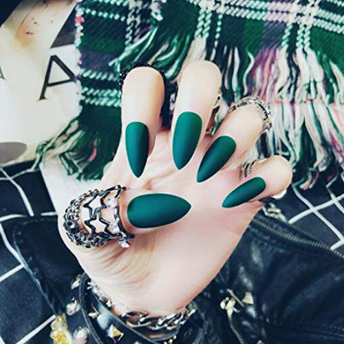 24Pcs 12 Different Sizes Matte Solid Black/Grey/Wine Red/Green Stiletto False Nails Long Full Cover Nails Tips (Green)