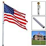 Aluminum Telescoping Flagpole 16'' Outdoor Yard Pole Kit With 1Pc American Flag