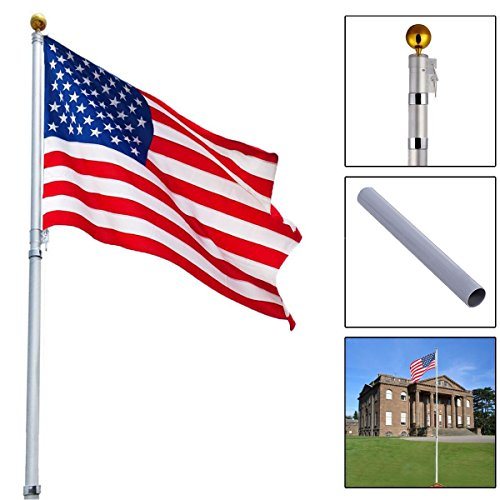 Telescoping Flagpole With 1 US America Flag Kit Outdoor Gold Ball Aluminum 16 Ft