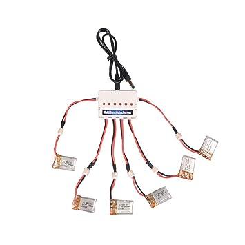 Youcute 6pcs 150mah batería oficial y 1to6 cargador para Eachine E010 JJRC H36 NIHUI NH010 Rc Quadcopter Drone piezas de repuesto (6 baterías +1 cargador): ...