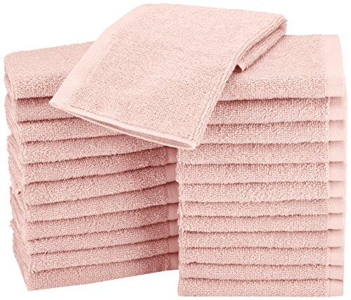 - AmazonBasics Washcloth Face Towels, Pack of 24, Petal Pink