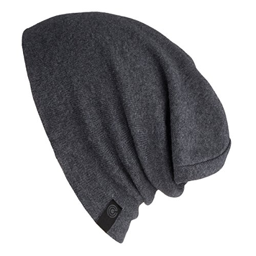 (Warm Slouchy Beanie Hat - Deliciously Soft Daily Beanie in Fine Knit Charcoal Grey One Size)