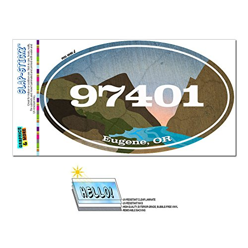 Graphics and More Zip Code 97401 Eugene, OR Euro Oval Window Bumper Glossy Laminated Sticker - River - Eugene River