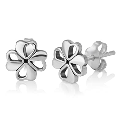 53d848752 Amazon.com: Sterling Silver Tiny Little Irish Four (4) Leaf Leaves Clover 8  mm Post Stud Earrings Lucky Jewelry: Jewelry