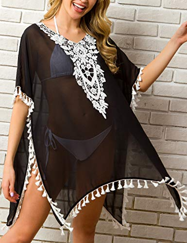 CPOKRTWSO Women's Chiffon Swimsuit Cover up Beach Bikini Stylish Tassel Bathing Suit Cover ups Black S/M