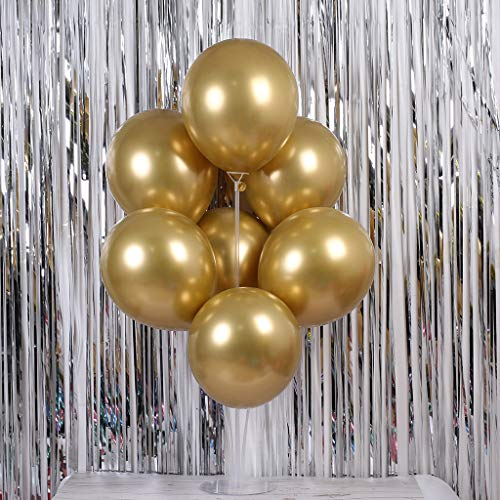 Gotian 50Pcs Chrome Shiny Metallic Latex Balloons for Birthday Wedding Grad Party ~ Perfect for Birthday Party Bridal Baby Shower Engagement Wedding Party Decor (Chrome Gold)