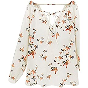 Women Summer T-Shirt ,Kaifongfu Casual Long Sleeve Tether Blouse Chiffon Floral T-Sh