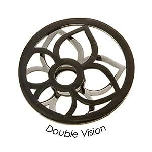 Cuñas QMOY-01L - D para mujer monedas large double Vision acero y colour negro Flor