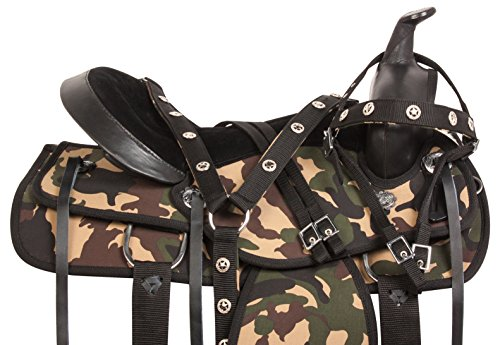 WESTERN SYNTHETIC CAMO BARREL RACING SADDLE TACK