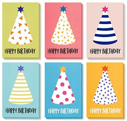 48 Pack Children Birthday Cards - Blank Greeting Cards - Greeting Cards Bulk Set Colorful Party Hats Stripe & Polka Dot Designs - Happy Birthday Greeting Cards for Kids, Envelopes Included 4x6 Inches