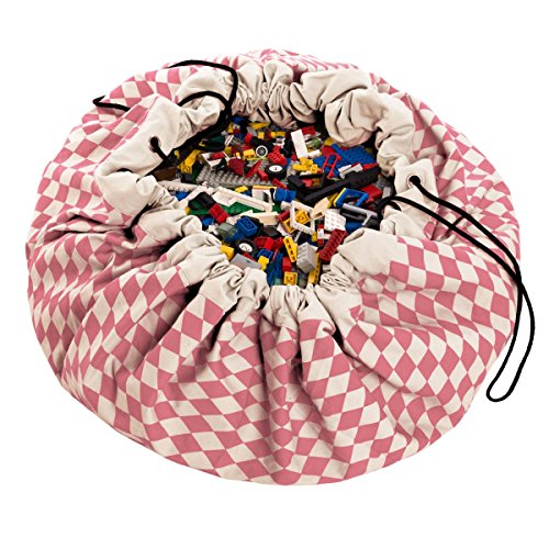 Play Mat and Toy Storage Bag - Durable Floor Activity Organizer Mat - Large Drawstring Portable Container for Kids Toys, Books - 55, Diamond Pink