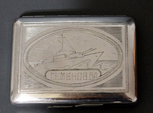 GIFT FOR HIM 1946 vintage navy USSR Soviet Russian cigarette box case metal ship ww2