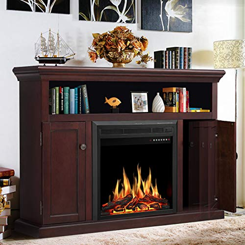 JAMFLY Electric Fireplace TV Stand Wood Mantel for TV Up to 55 , Media Entertainment Center Fireplace Console Cabinet w LED Flames, Storage Bin, Touch Screen,Remote Control, 750W-1500W, Dark Espresso