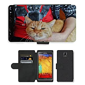 PU LEATHER case coque housse smartphone Flip bag Cover protection // M00131232 Gato Drbe acaricia Purr pelirroja // Samsung Galaxy Note 3 III N9000 N9002 N9005