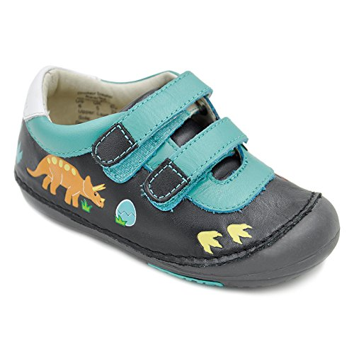Momo Baby Boys First Walker Toddler Dinosaur Leather Sneaker Shoes - 7 Black/Teal