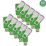 KEXIN 10pcs 1GB USB Flash Drive USB2.0 Flash Drive Bulk Pack Memory Stick Green