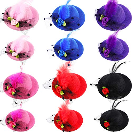 12 Pieces Hat Hair Clip Fascinator Hats Clip Mini Top Hat with Mesh Faux Flowers Feather for Girls Costume Party Accessory Wearing, 2 Different Sizes