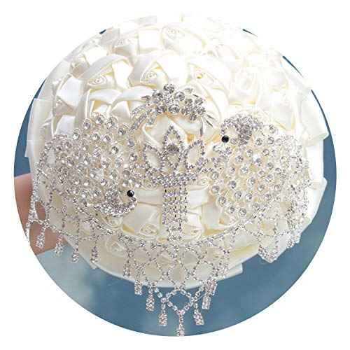Fantastic-Journey Excellent Silver Crystal Wedding Holding Bouquet with Diamond Artificial Roses Ribbon for Wedding Church Party,18cm Ivory