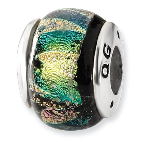 Sterling Silver Green Dichroic Glass Bead ()