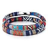 COOLSTEELANDBEYOND Double-Lap Tribal Tibetan Mens Womens Cotton Bracelet Wristband Wrap Bracelet, Steel Magnetic Clasp