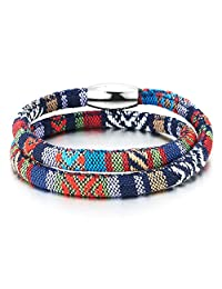 Double-Lap Tribal Tibetan Mens Womens Cotton Bracelet Wristband Wrap Bracelet with Stainless Steel Magnetic Clasp (CA)