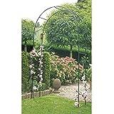 Arceau à rosiers 140 x 240 x 37 cm en vert foncé - Arche à rosiers pratique pour plantes grimpantes créée avec des éléments stables en acier