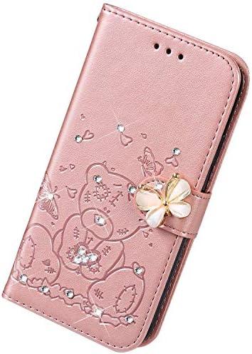 Uposao Kompatibel mit Samsung Galaxy Note 10 Plus Hülle Leder Handyhülle Diamant Bling Strass Glitzer Blumen Cartoon Bär Muster Leder Tasche Wallet Flip Cover Case Klapphülle Schutzhülle,Rose Gold