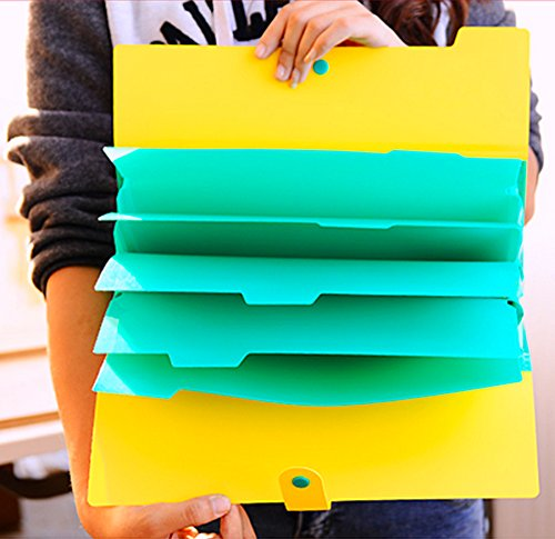 KOBEST Pack of 4 colors Pocket document file Poly Expanding A4 and Letter Size File Organizer, 5 Pockets, stylish colorful and very lightweight Photo #5