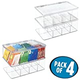 mDesign Kitchen Cabinet Organizer Box for Tea Bags, Sugar Packets, Sweeteners - Pack of 4, Clear