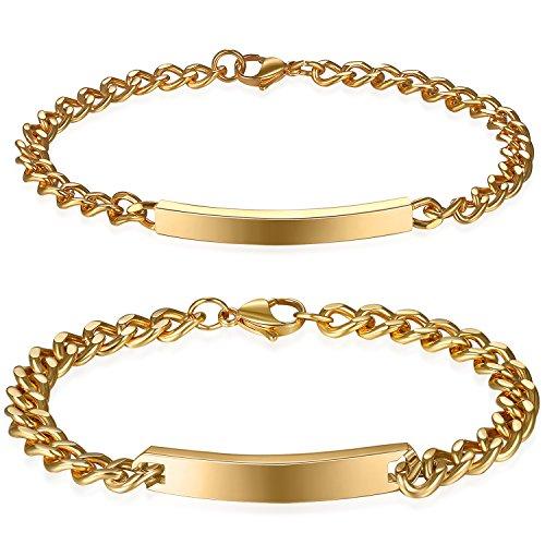 a48dae16ec90 ... par) Oferta Especial Grabado Personalizado. Mejor JewelryWe DIY Pulseras  parejas Acero inoxidable