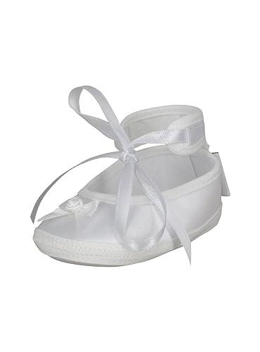 bded485727d52 Boutique-Magique Chaussons Blanc bébé Fille pour baptême ou Mariage en Satin