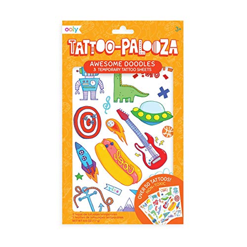 OOLY, Tattoo Palooza Skin-Friendly and Non-Toxic Temporary Tattoo for Kids – Awesome Doodles, 3 Sheets