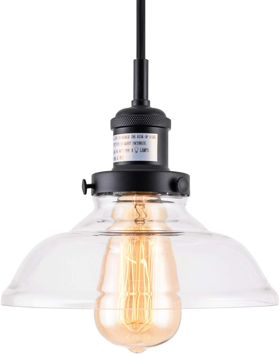 YIFI DECO Industrial Edison Modern Style Pendant Lighting Fixture Farmhouse 1-Light Pendant Glass Hanging Light Painting for Kitchen Dining Room, Clear