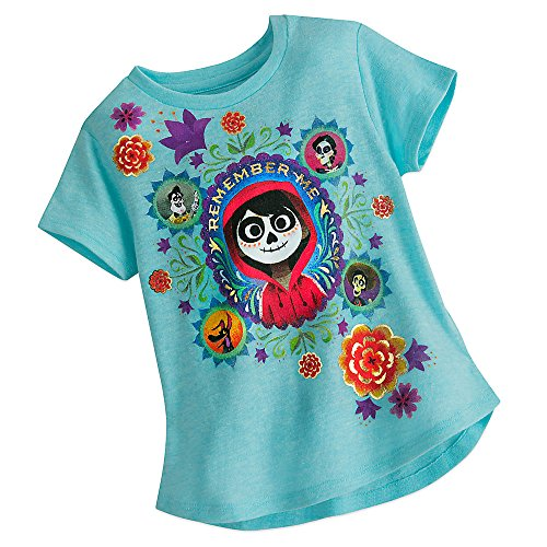 Disney Coco Heathered T-Shirt For Girls Size XS (4) Blue 456214855637