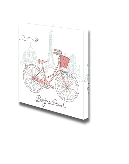 amazon wall26 canvas prints wall art riding a bike in style Split Wire Loom Wrap wall26 canvas prints wall art riding a bike in style romantic illustration from
