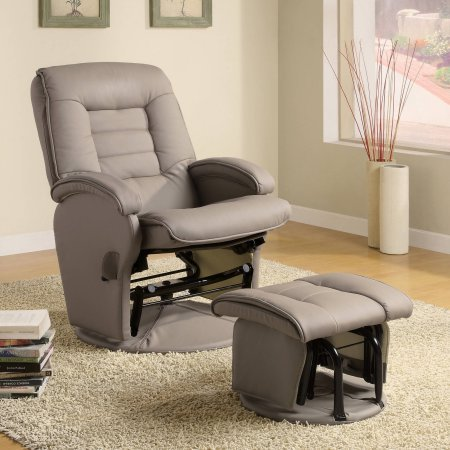Coaster Double Padded Glider and Ottoman in Bone by Wildon Home