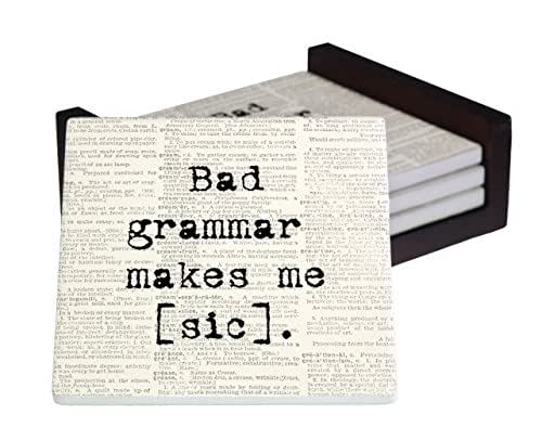 Bad Grammar Makes Me [Sic] 4-Piece Sandstone Coaster Set - Caddy Included