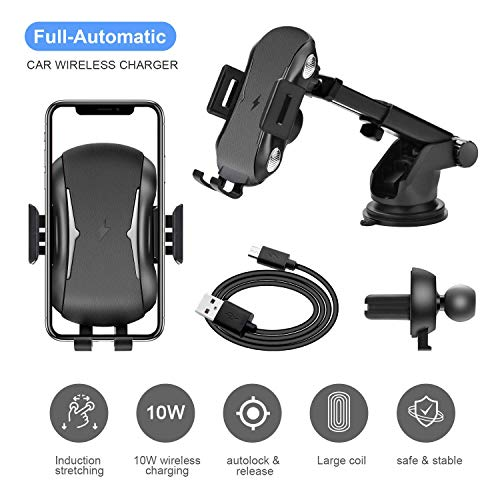 Automatic Clamping Qi Wireless Car Charger, SANCEON 10W/7.5W Fast Charger Car Mount Phone Holder for Air Vent Dashboard Compatible with iPhone Xs/Xs Max/XR/X/8/8Plus, Samsung Galaxy S10/S10+/S9/S9+/S8 by SANCEON (Image #6)