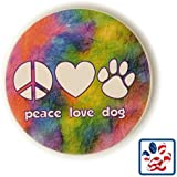 "Peace Love Dog Paw Print Heart Absorbent Stone Car Auto Coaster 2.5"" Cup Holder"